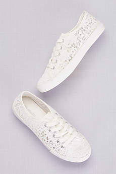 David's Bridal White Casual Shoes (Crochet Lace Sneakers)