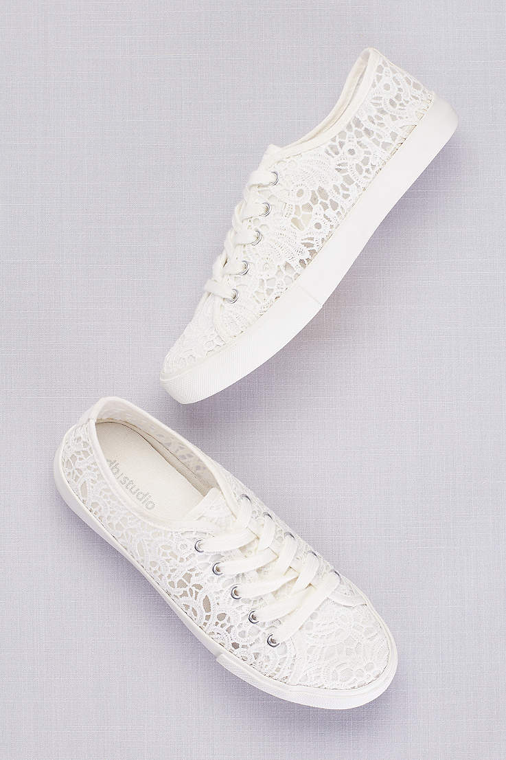 David s Bridal White Sneakers and Casual (Crochet Lace Sneakers) 9c56e3907