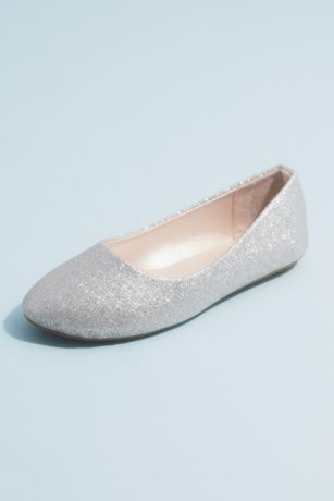 Grey;Yellow Flowergirl Shoes (Girls Allover Glitter Round Toe Ballet Flats)