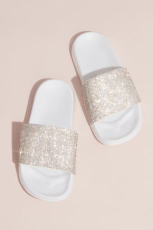 David's Bridal Grey Flat Sandals (Crystal-Encrusted Slides)
