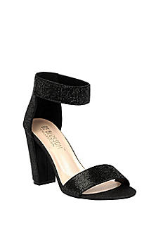 Crystal Block-Heel Sandals with Velcro Ankle Strap CELINA-16