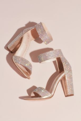 Blossom Beige Heeled Sandals (Crystal Block-Heel Sandals with Velcro Ankle Strap)