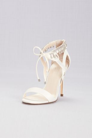 Touch of Nina Ivory Heeled Sandals (Beaded Tassel Sandals with Ankle Tie)
