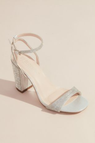 David's Bridal Black;Grey Heeled Sandals (Sparkly Minimalist Ankle Strap Block Heel Sandals)