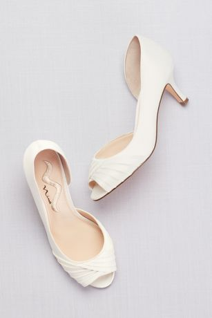 "Touch of Nina Black;Grey;Ivory (Satin D""Orsay Peep-Toe Sandals)"