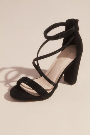 Blossom Black (High block heel criss cross with zipper back)