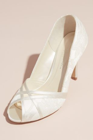 Pink Paradox Ivory;Pink Heeled Sandals (Peep Toe Lace Heeled Sandals with Satin Crossover)