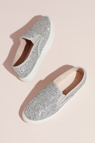 Blossom Grey;White;Yellow Sneakers and Casual (Allover Glitter Slip-On Sneakers with Rubber Sole)
