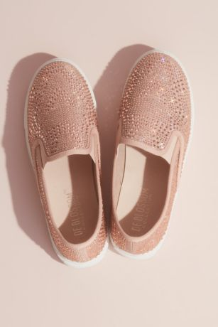 Pink Casual Shoes (Allover Crystal Slip-On Sneakers)