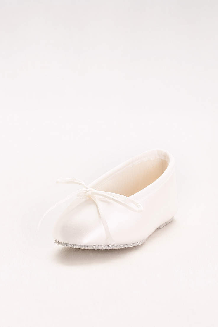 Touch Ups White Flowergirl Shoes (Girls Dyeable Satin Ballerina Flats) 8a49e05b3255