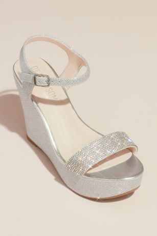 Blossom Beige;Grey Heeled Sandals (Crystal Embellished Strap Glitter Platform Wedges)