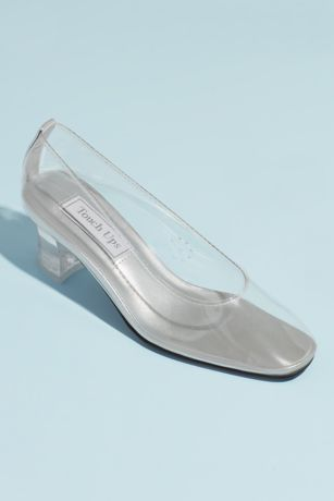 Touch Ups Closed Toe Shoes (Clear Block Heel Pumps)