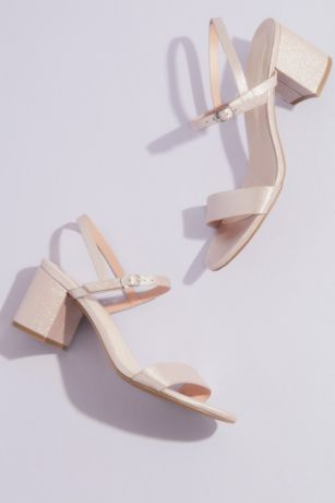 David's Bridal Ivory;Pink Heeled Sandals (Cinde Strappy Block Heel Sandal)