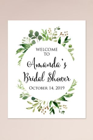 Wreath Personalized Bridal Shower Welcome Sign