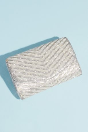 Crystal and Pearl Chevron Metallic Clutch