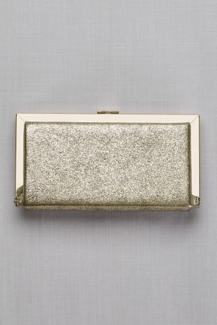 Metallic Fabric Hard-Sided Frame Clutch
