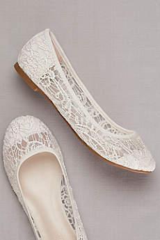David's Bridal White (Crochet Ballet Flats)