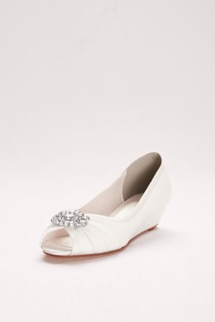 David's Bridal Blue;Purple;White Wedge Shoes (Jeweled Satin Peep-Toe Mini Wedges)