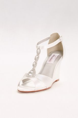 Touch Ups White Wedges (Dyeable Satin T-Strap Wedges with Crystals)