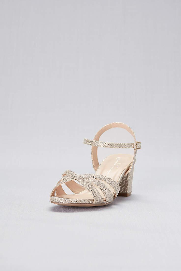 Pink Paradox Ivory Glitter Metallic Block Heel Wide Width Sandals