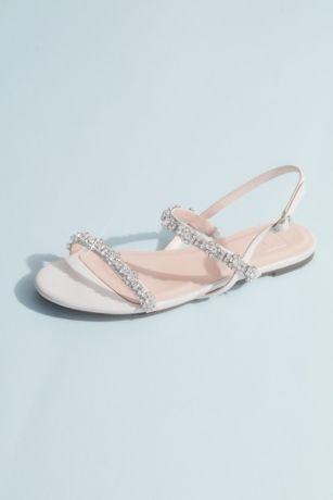 DB Studio White Flat Sandals (Satin and Crystal Quarter-Strap Flat Sandals)