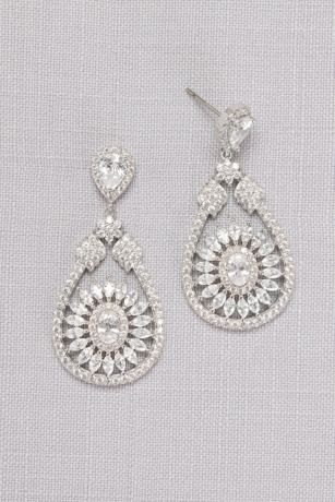 Crystal Medallion Drop Earrings