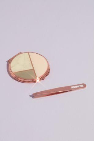 Rose Gold Compact and Tweezer Set