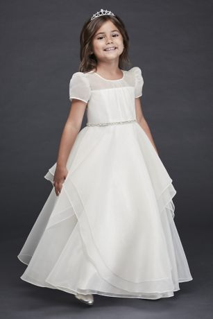 db057c8cfdd Long Ballgown Cap Sleeves Dress - David s Bridal · David s Bridal. Organza  Long Flower Girl Dress with Crystal Belt