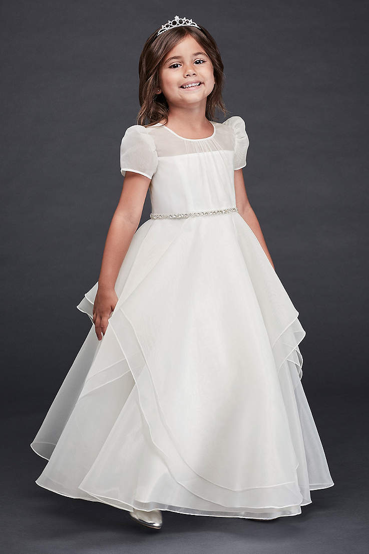 ffdc5a638a2 Girl Stuff. Long Ballgown Cap Sleeves Dress - David s Bridal