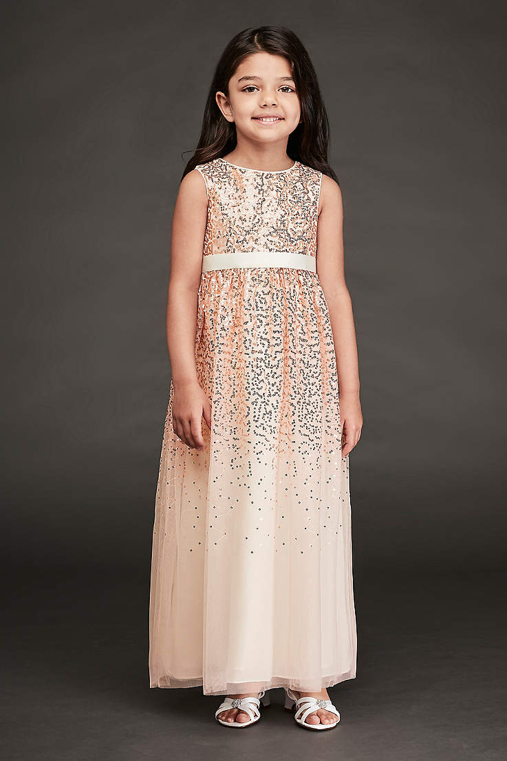 30b70355cd5 Sleeveless Scattered Sequin Long Flower Girl Gown
