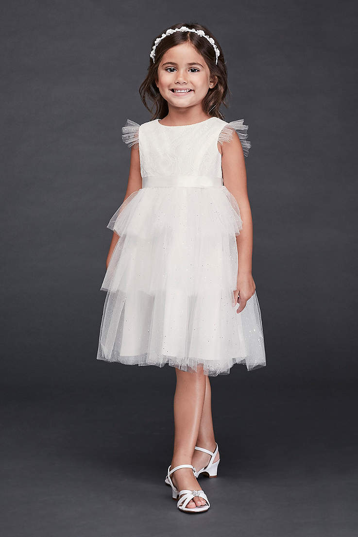 1b260ffe384a0 Tiered Sparkle Tulle and Lace Flower Girl Dress