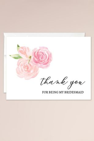 Floral Bridesmaid Thank You Blank Card