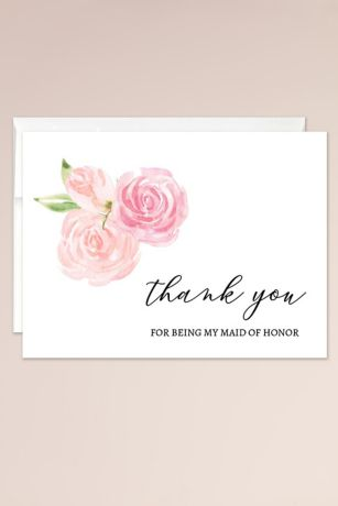 Floral Maid of Honor Thank You Blank Card