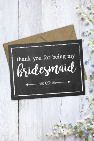 Chalkboard Bridesmaid Thank You Card