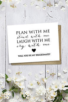 Heart Will You Be My Bridesmaid Wedding Card