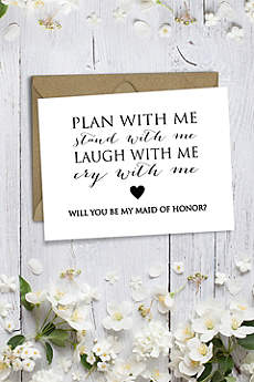 Heart Will You Be My Maid of Honor Wedding Card