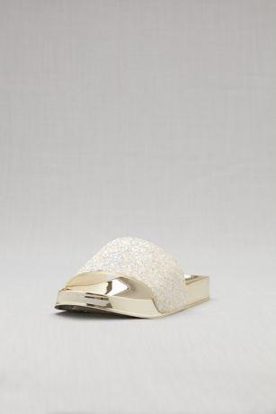 Bamboo White Flat Sandals (Metallic Glitter Slides)