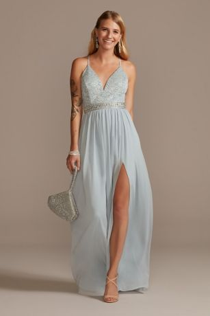 Lace Back Spaghetti Strap Dress with Beaded Belt