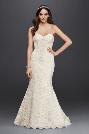 Oleg Cassini Strapless Lace Trumpet Wedding Dress