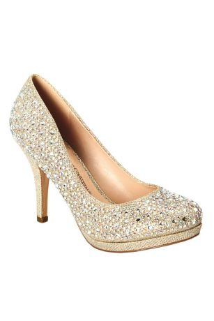 654f4611e692 Blossom Beige Grey Pumps (Pump with Allover Crystal Detail)