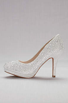 David S Bridal Grey Closed Toe Shoes Allover Crystal Pumps