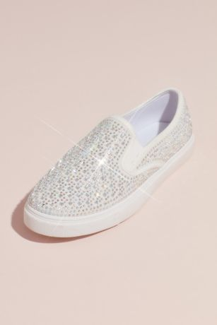 d56561117ac8 David s Bridal White Sneakers and Casual (Crystal-Studded Slip-On Sneakers)