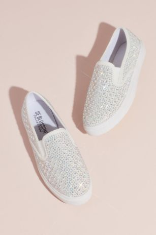David's Bridal White Sneakers and Casual (Crystal-Studded Slip-On Sneakers)