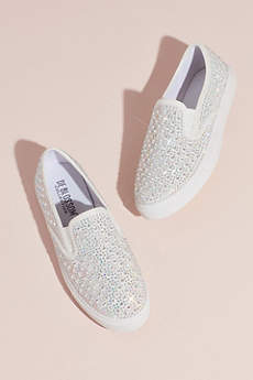 David's Bridal White Casual Shoes (Crystal-Studded Slip-On Sneakers)