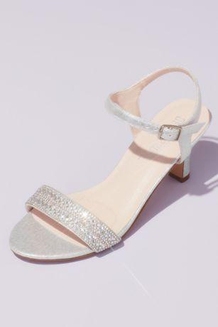 Grey;Ivory Heeled Sandals (Crystal Encrusted Strap Heeled Ankle Sandals)