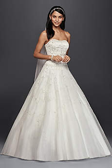 Oleg Cassini Satin Bodice Organza Wedding Dress