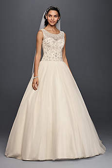 Oleg Cassini Ball Gown Wedding Dress with Beading