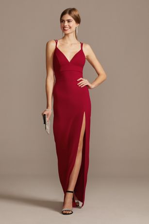Double Spaghetti Strap Deep-V Dress with Slit