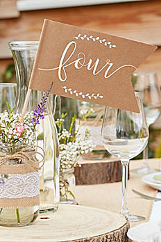 Scripted Kraft Paper Table Number Flags CW-230