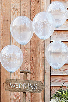 12 Inch White Confetti Filled Balloons CW-260